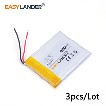3pcs /Lot 3.7v lithium Li ion polymer rechargeable battery 403443 600MAH For Mp3 MP4 MP5 GPS PSP mobile bluetooth Watch PDA(China)