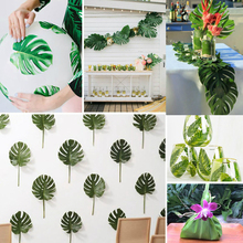 12Pcs Large Artificial Fake Monstera Palm Tree Leaves Green Plastic Leaf Wedding DIY Decoration Cheap Flowers Arrangement Plant(China)