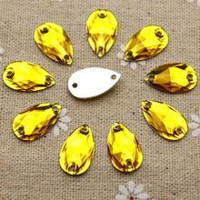 100pcs 10.5*18mm  Sew on Rhinestones Gold Yellow Waterdrop jewelry findings Resin Flatback Sewing Crystal 2 holes For Garment