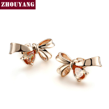 Buy Top ZYE451 Elegant Bowknot Crystal Rose Gold Color Fashion Jewelry Earring Austrian Crystal Wholesale for $3.41 in AliExpress store