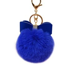 Starry-Styling Faux Rabbit Fur Ball Bowknot Charm Car Keychain Handbag Key Ring Delicate