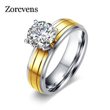 ZORCVENS New Fashion Gold-Color Stainless Steel Ring for Women Cubic Zirconia Wedding Brand Female Ring Free Shipping(China)