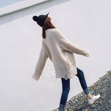 Winter women sweaters Girls long 2017 spring new ripped relaxed size hole white knitted sweater(China)