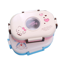 Cartoon Hello Kitty Kawaii Food Container Stainless Steel Portable Children Bento Box Japanese style Lunchbox For Student Kids(China)