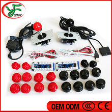 DIY arcade mame kit for PC /PS2 / PS3 3 in 1 USB Controller 2 copy sanwa Joystick 20 Push Buttons with cable Wire harness(China)