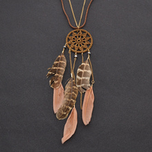 fashion lychee Brown Women Lady Boho Feather Crochet Retro Bohemian Beach Pendant Choker Necklace