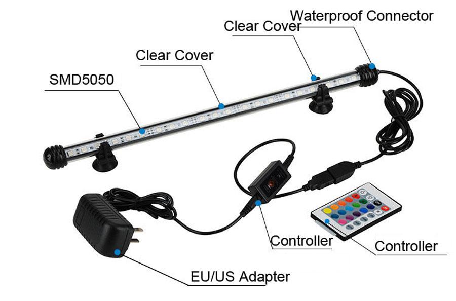 Fish Tank Aquarium LED Light 5050 SMD RGB Light Bar IP68 Waterproof Submersible Lamp EU US UK Plug 18cm to 48cm up to 4W