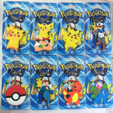 Pikachu Ash ketchum Charmander Bulbasaur Squirtl Action Figure Toy Silicone keychain For Friend Best Gift Blister card packaging