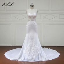 Sweet Heart Lace Appliques Crystal Wedding Dress Court Tail Zipper Back Exquisite Design Bridal Gown Custom Size Elegant Gown(China)
