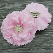 "4.3"" Peony flower with Bling Rhinestone pearl hair clip Brooch layered Gorgeous flower hair Accessories hair bows 120pcs/lot"