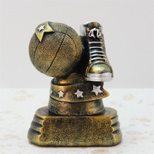 Resin Creativity Gold Basketball Trophy Figurines Great Resin Furnishing Craft For Friend Home Table Basketball Style Ornament