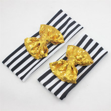2017 New Mom and Me Large Sequin Bow Headband Set Hair Accessories Mommy and me Big Bow Headband Cotton Turban Headband 1SET