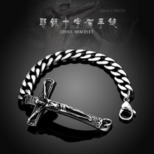 Europe And United States Popular INRI Crucifix Jesus Cross Bracelet Bangles Punk 316L Stainless Steel Men Thomas Style Gift
