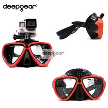 DEEPGEAR Newest Gopro Diving Mask Black silicone diving mask with XIAOMI SJCAM camera mount Adult diving mask to gopro diving(China)