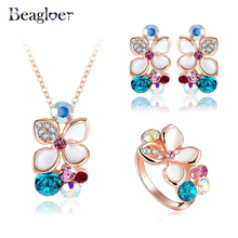 Beagloer New Brand Enamel Flower Bridal Jewelry Set Rose Gold Color Top Quality Pendant/Earring/Ring Set Wholesale ST0015(China)