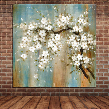 Blooming Almond Blossoms Oil Painting on Canvas Modern Large Wall Art Picture Fabric Flowers Decoration (No Frame)