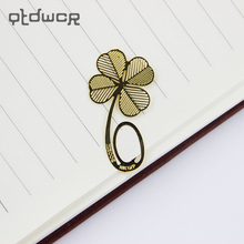 10PCS/lot Fashion Metal Hollow Four-leaf Clover Bookmark Reading Mark Notes Learning Stationery(China)
