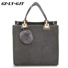 Buy Fashion Handbag Women Casual Tote Bag Female Large Shoulder Messenger Bags High PU leather Handbag Fur Ball Bolsa for $14.43 in AliExpress store