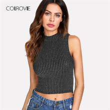 Buy COLROVIE Silver Thread Detail Sleeveless Top 2018 Summer Stand Collar Party Women Clothing Slim Fit Crop Slim Fit Vest for $6.99 in AliExpress store
