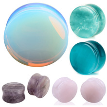 Ear Expander Ear Piercing 1 Pair of Opalite Stone Ear Plugs Tunnels Gauges Expander Body Piercing Jewelry