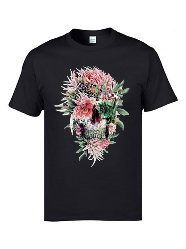 3D Printed Short Sleeve Tops T Shirt Summer Fall O-Neck 100% Cotton Men Tshirts Momento Mori Rev 3D Printed T Shirt Plain Momento Mori Rev black