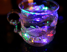 LED light plastic cup, water sensor drink cup, creative colorful luminous color cup novelty Christmas gifts(China)