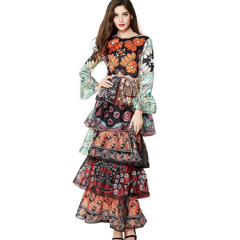 Luxury Print Flower Boho Maxi Long Dress 2018 High Quality Runway Designer Chiffon Flare Sleeve Ruffled Bohemia Women Dress