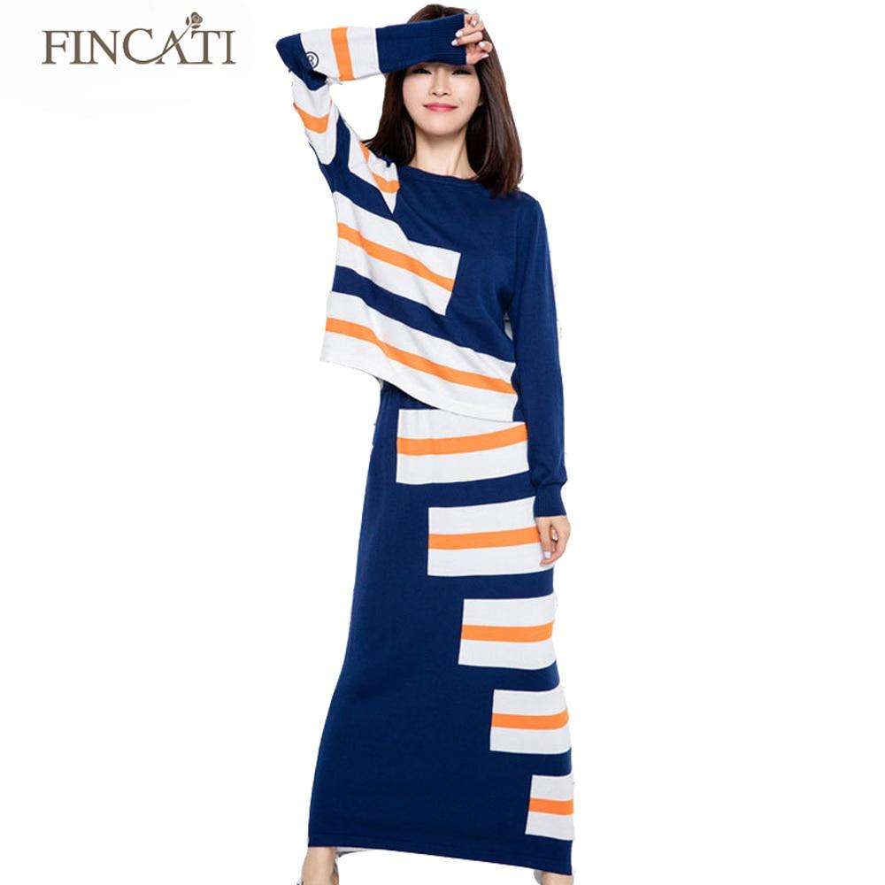 2018 Womens Autumn Winter Runway Brand Cashmere Blend Striped Sweater+Long SetsTwo Piece Dress Knitwear Knitted Jumper DressesÎäåæäà è àêñåññóàðû<br><br>