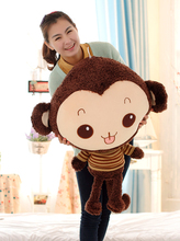 lovely stuffed monkey animal plush toys monkey toy doll with stripe cloth birthday gift dark coffee about 85cm(China)