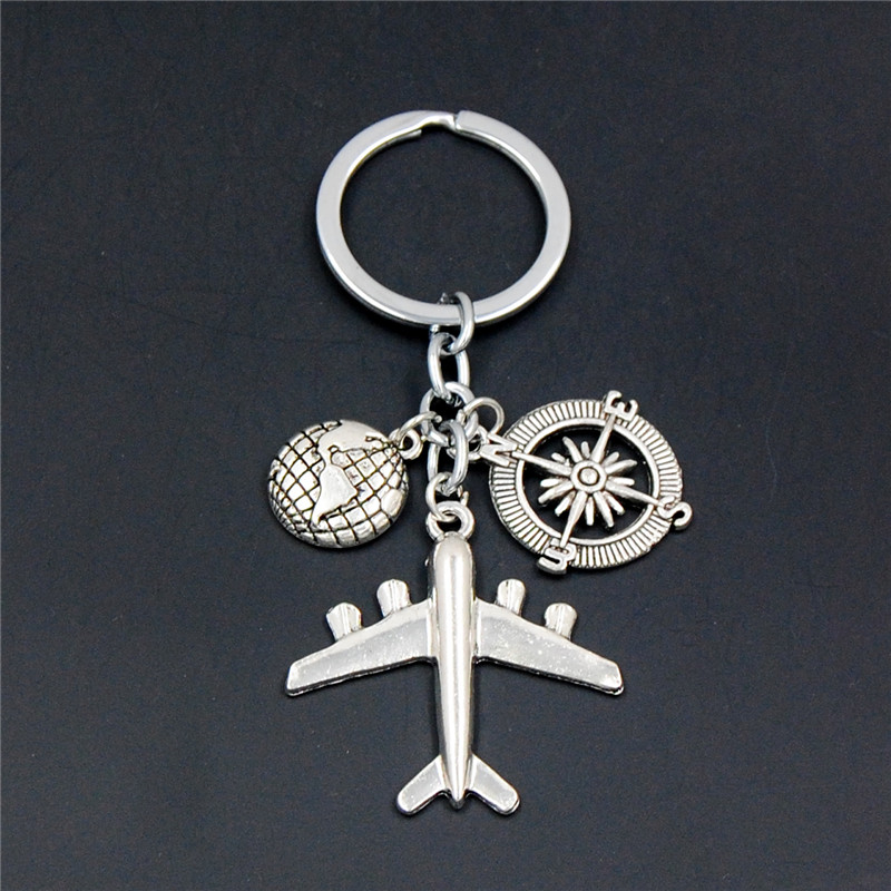 1PC Earth Airplane Keychains No Matter Where Pendant Travel Keyring Friendship Best Friend Jewelry Diy Handmade
