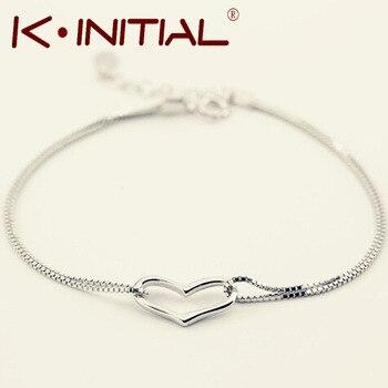 Kinitial 1Pcs New Style Romantic Heart Bracelet Bangle Femme 925 Silver Women Wedding Gfit Bracelets Pulseras Fine Jewelry