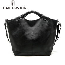 Herald Fashion Casual Hobos Bag Rivet Large Capacity Women Totes Bag Autumn and Winter PU Leather Shoulder Bag(China)
