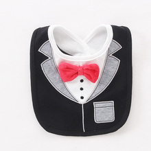 Baby Bibs 3 Layers Waterproof Babys Tuxedo Bibs Kids Dinner Feeding Bib Saliva Towel Child Red Bow Tie Gentleman Baberos T0500