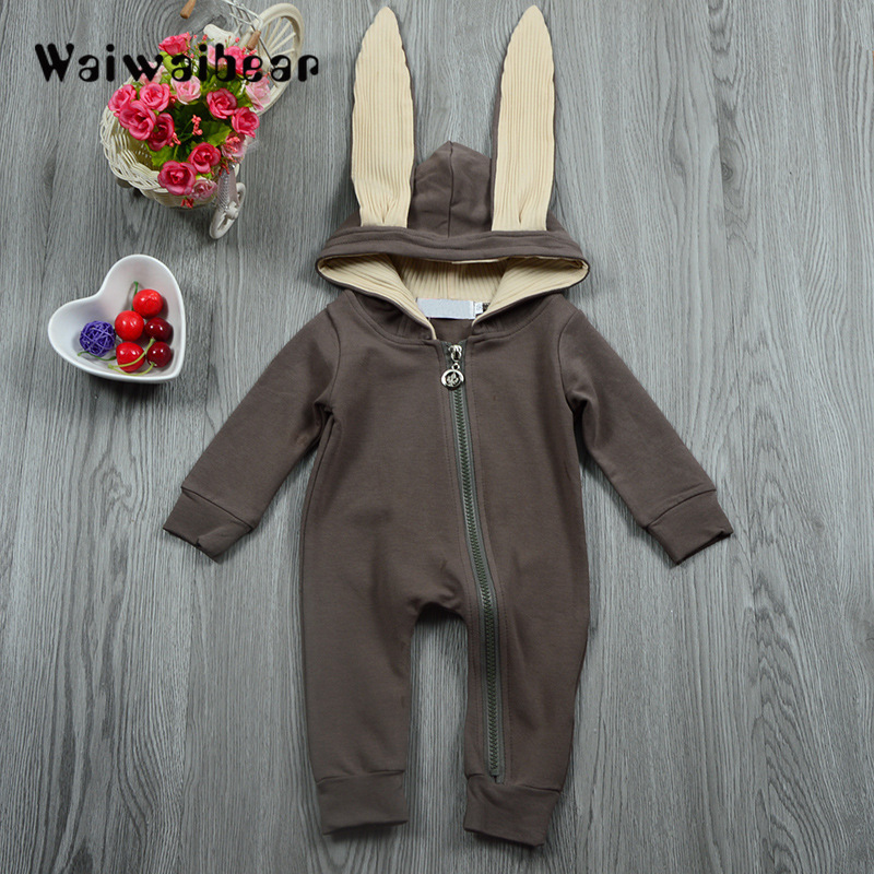 Infant Bunny Boy Girl  Baby Cute Gray Ear Romper Jumpsuit Outfits Playsuit 0-4T