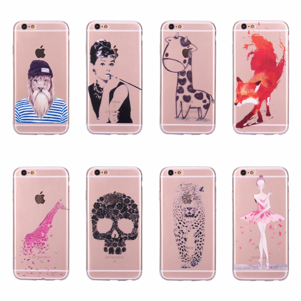 Beautiful Girl Woman Phone Case For iPhone 5 5S SE Giraffe Tiger Fox Lion Carttoon TPU Silicone Transparent Clear Cover Cases(China)