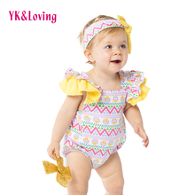 2018 Retail Easter Bodysuit Baby Girl 0-2year Infant Sleeveless Swing Design Jumpsuit Solid Cotton Easter Day Gift with Headband