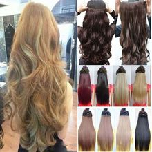 "US Warehouse New Hot Women Ladies 17"" Long Curly Wavy 5 Clips In On Hair Extensions Full Head Top"