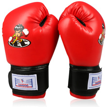 2016 KIDS PU LEATHER RED BOXING GLOVES FOR CHILDREN'S GIFT TRAINING IN MMA GUANTES DE BOXEO GLOVES MUAY THAI SANDA WUSHU KONGFU(China)