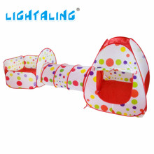 Lightaling Play House Tent Tunnel Pool-Tube-Teepee 3pcs Pop-up Baby Tents Children Kids Adventure Room Toddler Toy(China)