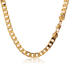 Vintage Heavy Solid Gold Filled Womens Mens Cuban Link Chain Long Necklace Wedding Hot Jewelry 7mm Thick 24-26 Inches Cool