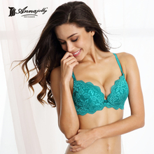 Annajolly Women Lace Bras Top Sexy Push Up Brassiere Lingerie Comfortable Green Blue White Bra Brand New Fashion Underwear 7314(China)