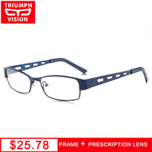 TRIUMPH VISION Prescription Glasses Men High Quality Blue Metal Reading Eyeglasses Optical Square Spectacles Computer Eyewear(China)