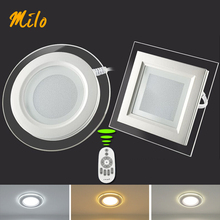 Free shipping good quality led panel light, remote control dimming and colors, round and square shape,12W 100-2650V 50-60Hz(China)