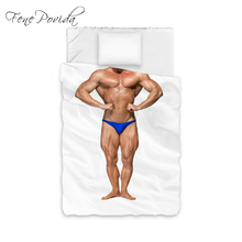 NEW HOT SALE Quilt Cover Pillow Case Combination 3D Strong Muscle Man Wild Comfortable Bedding Set Duvet Cover A244