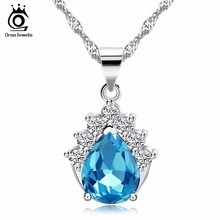 ORSA JEWELS Blue/Purple Austrian Cubic Zirconia Pendant Necklace 100% Allergy Free Silver Color Necklace Jewelry Supplier ON53