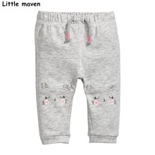 Little maven 2017 Autumn baby girls trousers cotton drawstring pants children's cat print kids trousers school pants 10151(China)