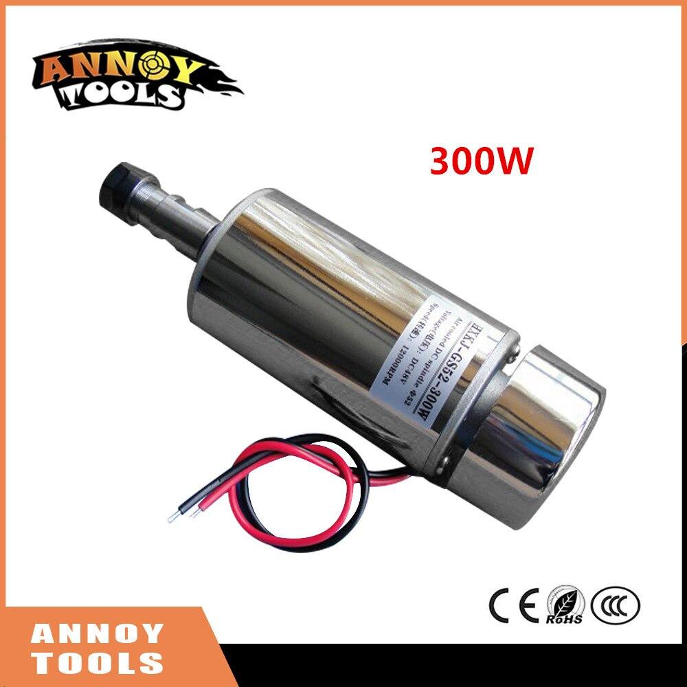 ANNOYTOOLS HIGH QUALITY 1pcs ER11 chuck+300W 12-48V CNC Spindle DC Motor air-cooling spindle motor 24V 36V for PCB Engraving<br>
