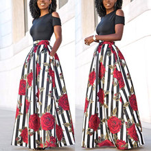 Top Sell Women Fashion African Boho Totem Printed High Waist Skirts With Pockets Maxi Skirts(China)