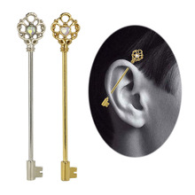 14G Industrial Cartilage Piercing Bar Stainless Steel Opal Stone Key Barbell Long Straight  Silver Gold Women Men Body Jewelry