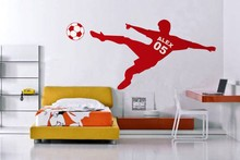 Football Soccer Wall Decal Personalized Name & Number and Soccer Ball wall sticker decor-Children Room-You Choose Name(China)